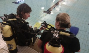 Planning the dive before jumping in. Sarah talks a trainee through the exercise.